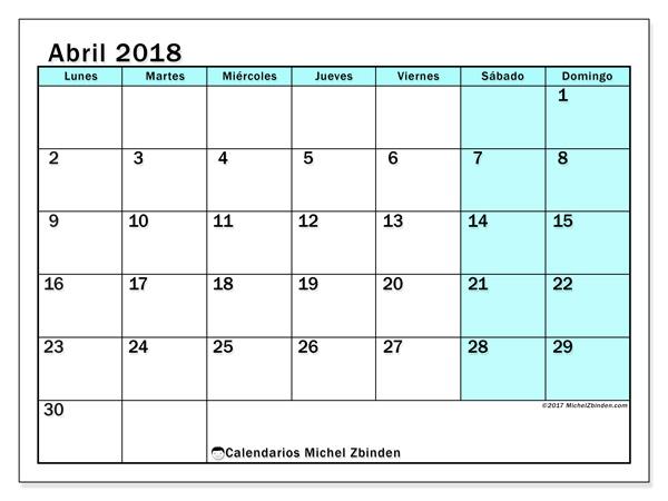 Calendario abril 2018, Laurentia