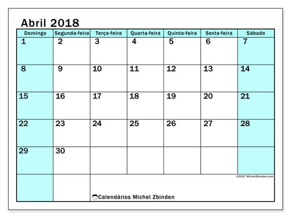 Calendário abril 2018 - Laurentia (br)