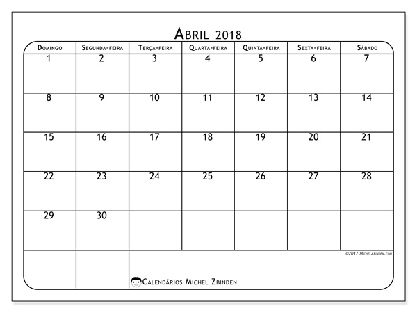 Calendário abril 2018, Marius