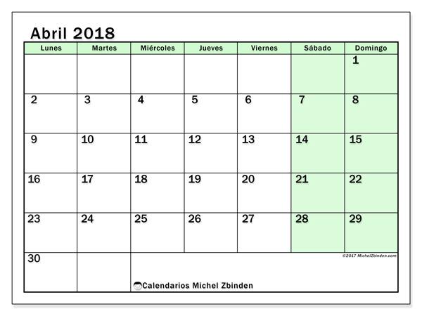 Calendario abril 2018, Nereus