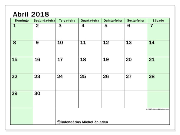 Calendário abril 2018, Nereus