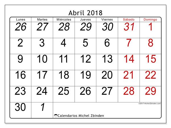 Calendario abril 2018, Oseus