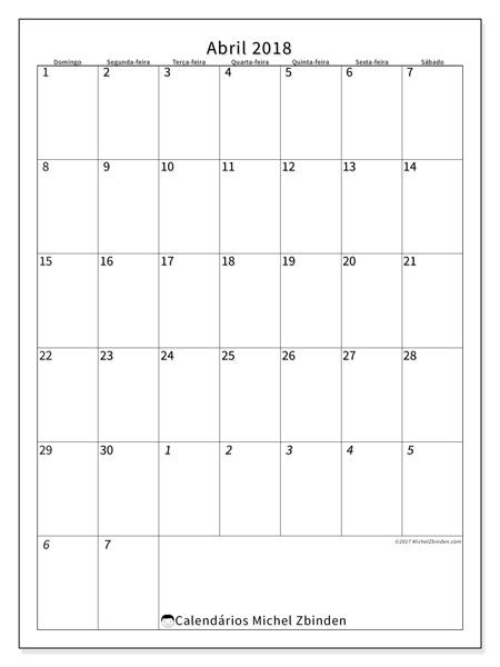 Calendário abril 2018 - Regulus (br)