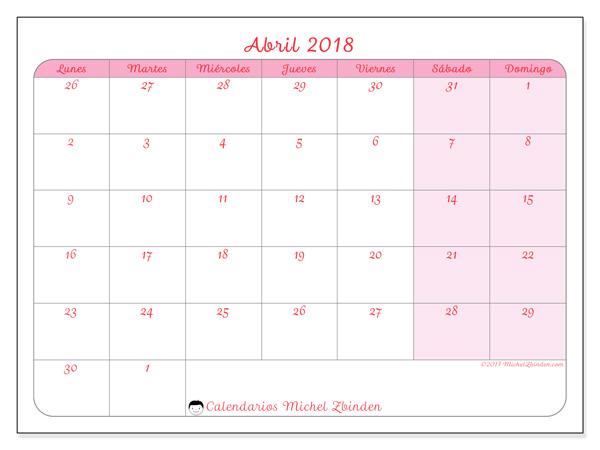 Calendario abril 2018, Rosea