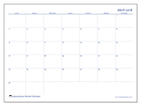 Calendario abril 2018 - Ursus (cl)