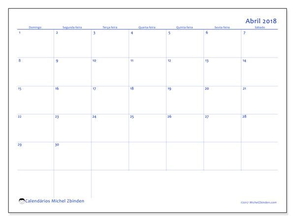 Calendário abril 2018, Ursus