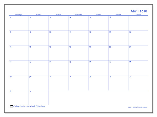 Calendario abril 2018 - Vitus (co)