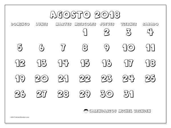 Calendario agosto 2018, Adrianus
