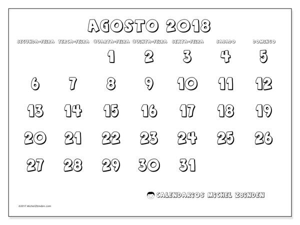 Calendário agosto 2018, Adrianus
