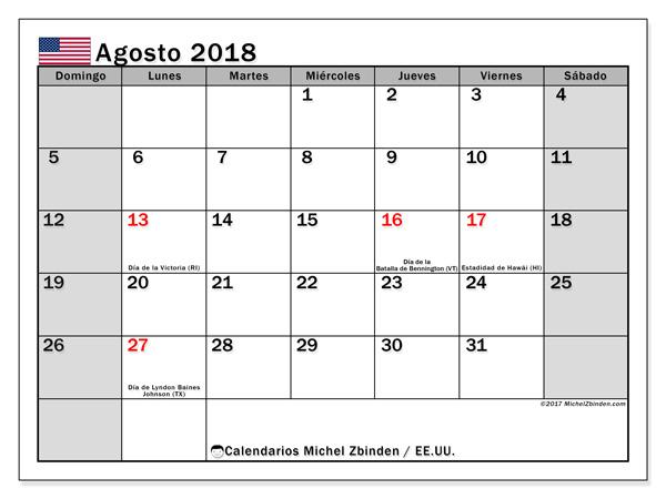 Calendario agosto 2018, Días feriados en el EE.UU.