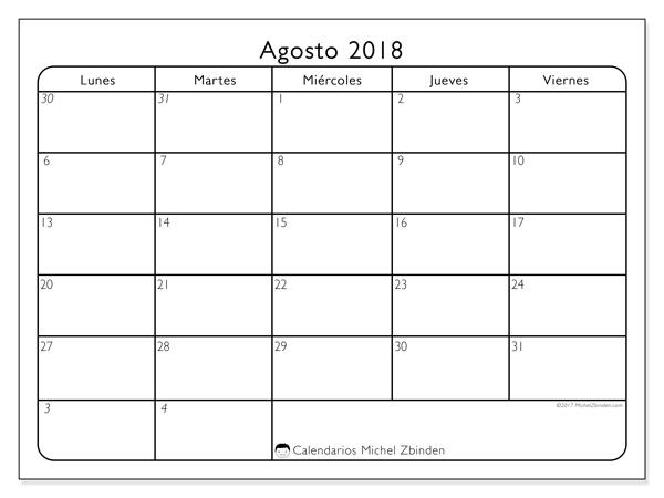 Calendario agosto 2018, Egidius