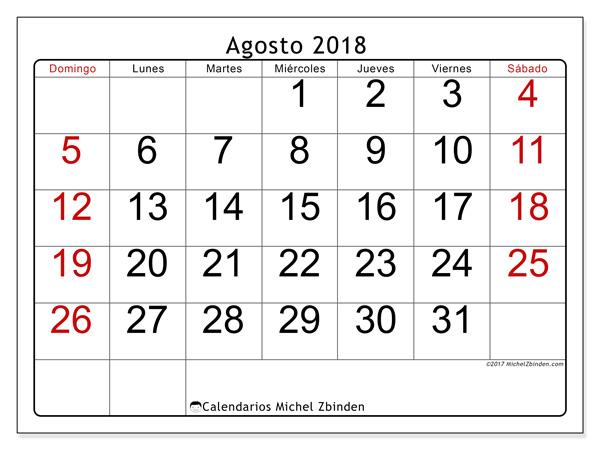 Calendario agosto 2018, Emericus