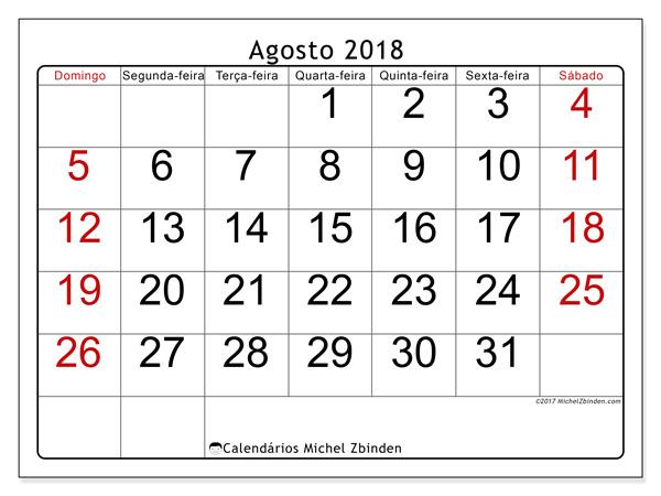 Calendário agosto 2018 - Emericus (br)