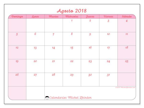Calendario agosto 2018, Generosa