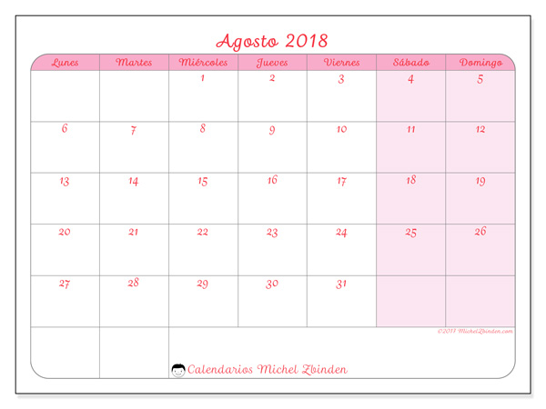 Calendario agosto 2018 - Generosa (cl)