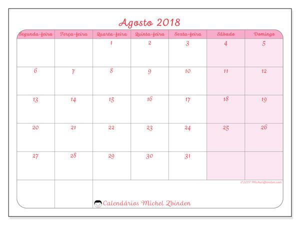 Calendário agosto 2018, Generosa