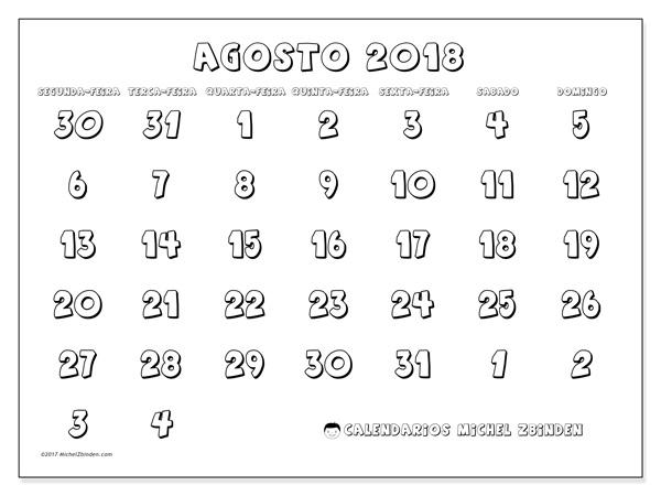 Calendário agosto 2018, Hilarius