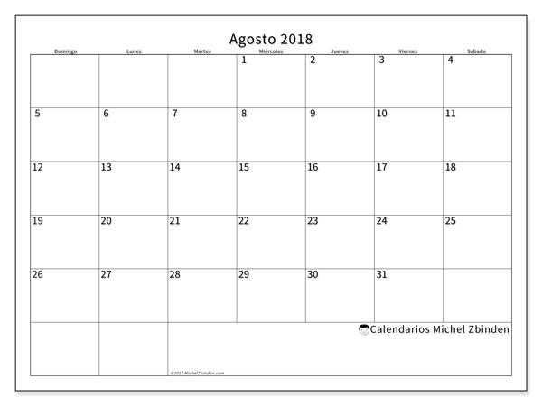 Calendario agosto 2018, Horus