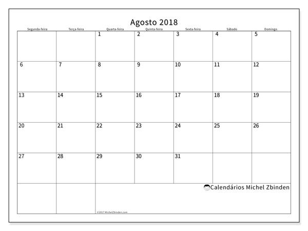 Calendário agosto 2018, Horus