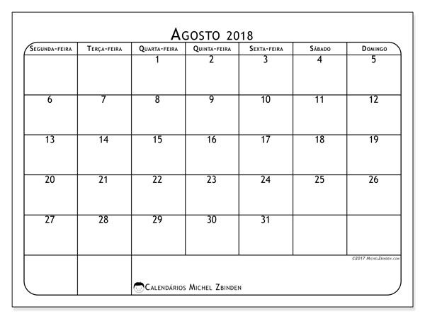 Calendário agosto 2018, Marius