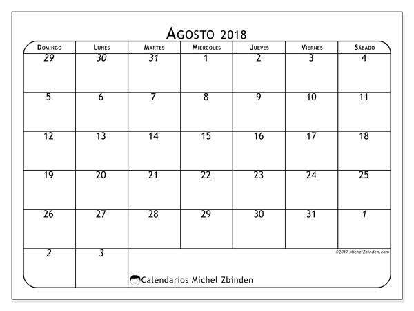 Calendario agosto 2018 - Maximus (co)