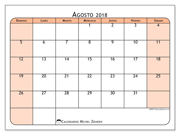 Calendario agosto 2018, Olivarius