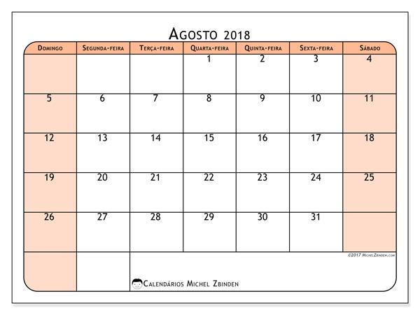 Calendário agosto 2018 - Olivarius (br)