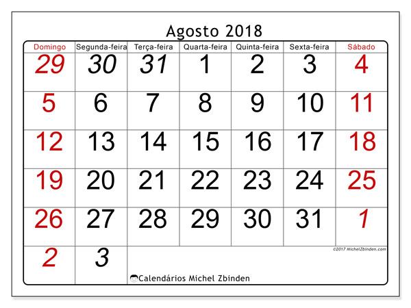 Calendário agosto 2018, Oseus