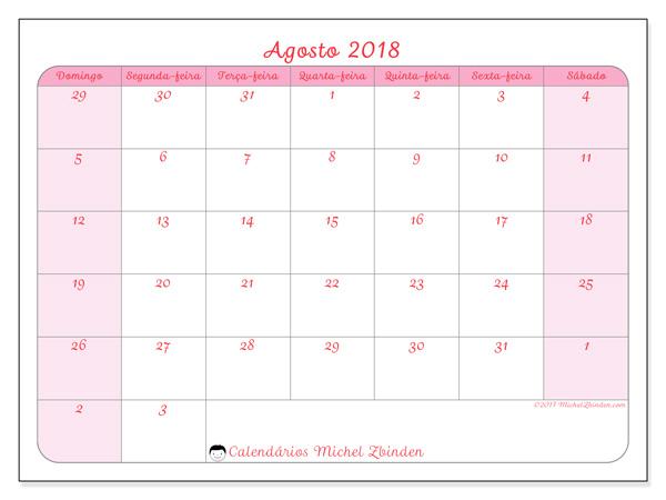 Calendário agosto 2018 - Rosea (br)
