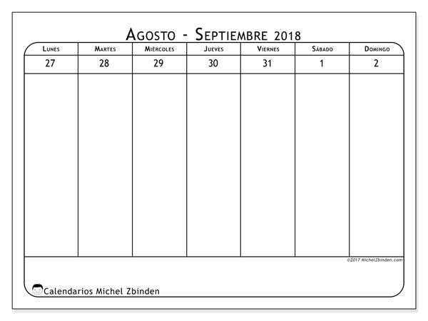Calendario agosto 2018, Septimanis 5