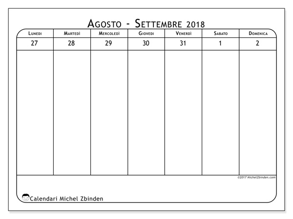 Calendario agosto 2018, Septimanis 5