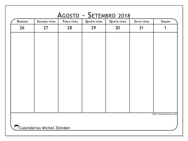 Calendário agosto 2018, Septimanis 5