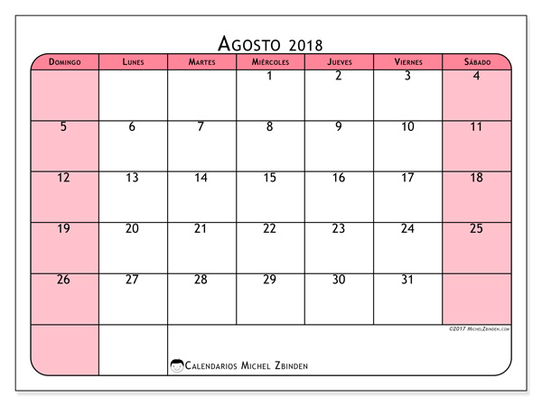 Calendario agosto 2018, Severinus