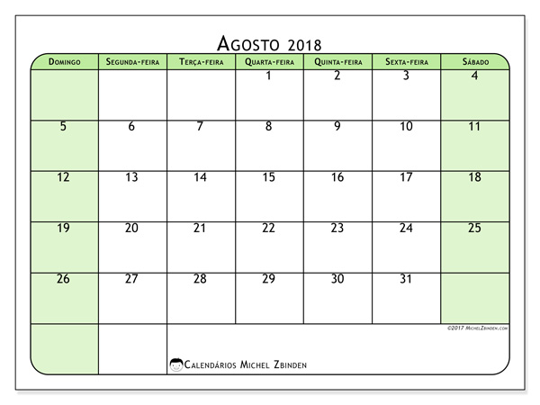 Calendário agosto 2018, Silvanus