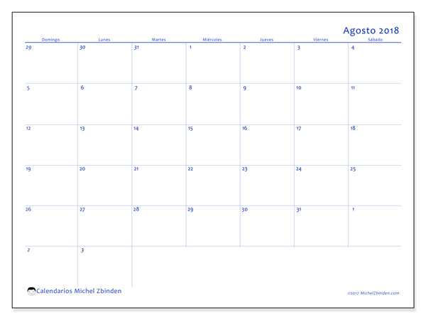 Calendario agosto 2018, Vitus