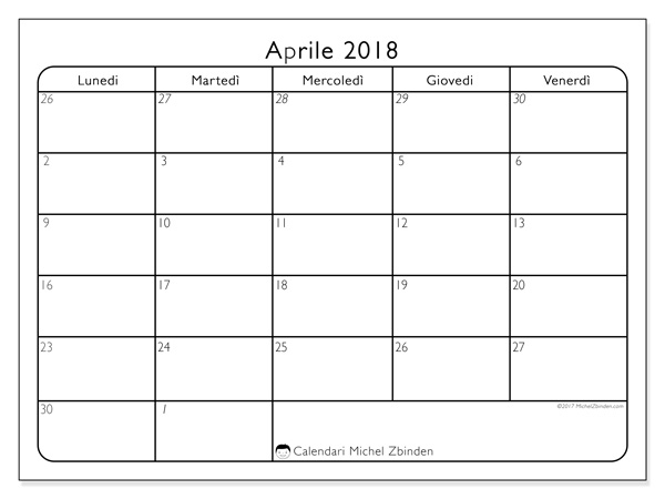 Calendario aprile 2018, Egidius