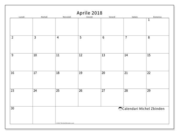 Calendario aprile 2018, Horus