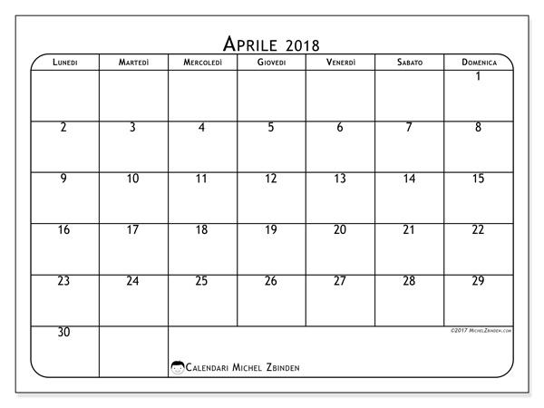Calendario aprile 2018, Marius