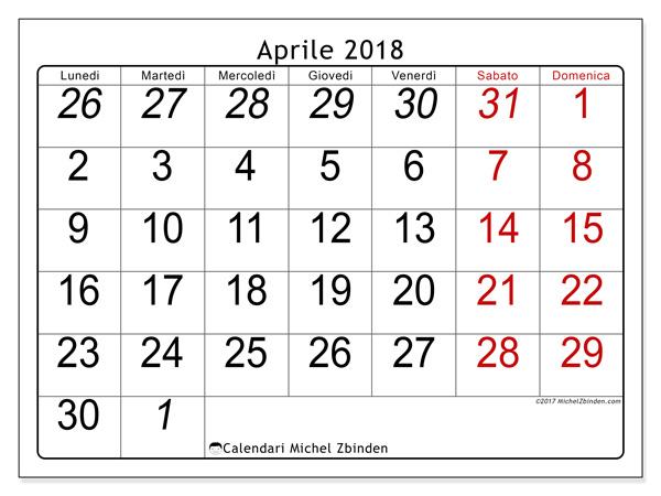 Calendario aprile 2018, Oseus