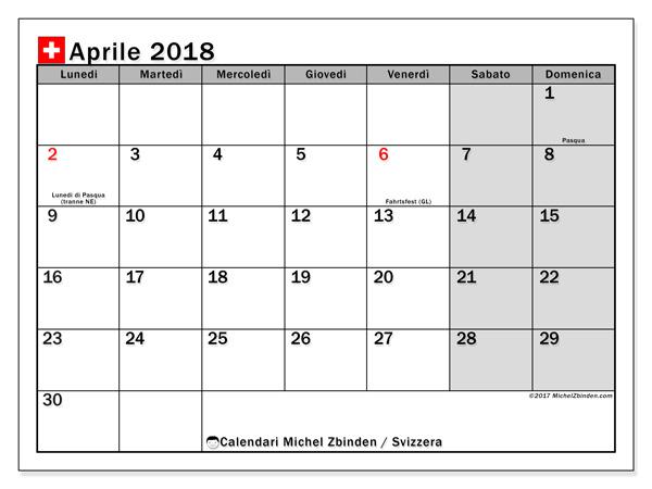 Calendario aprile 2018, Giorni festivi in Svizzera