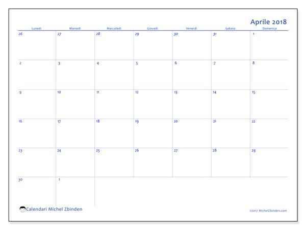 Calendario aprile 2018, Vitus