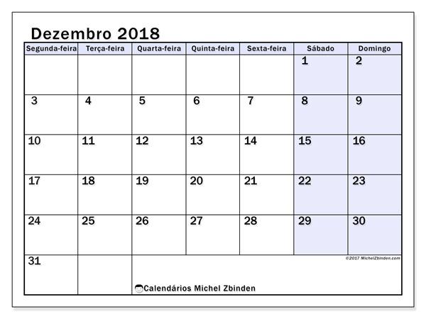 Calendário dezembro 2018, Auxilius