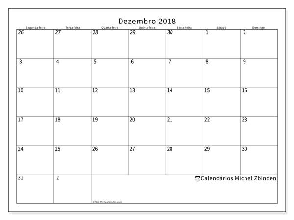 Calendário dezembro 2018, Deodatus