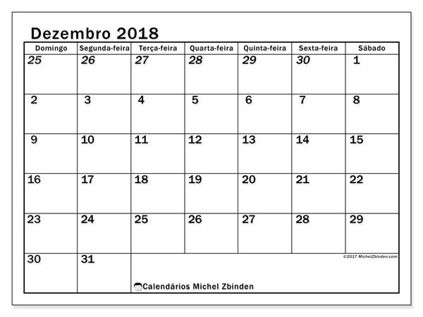 Calendário dezembro 2018, Julius