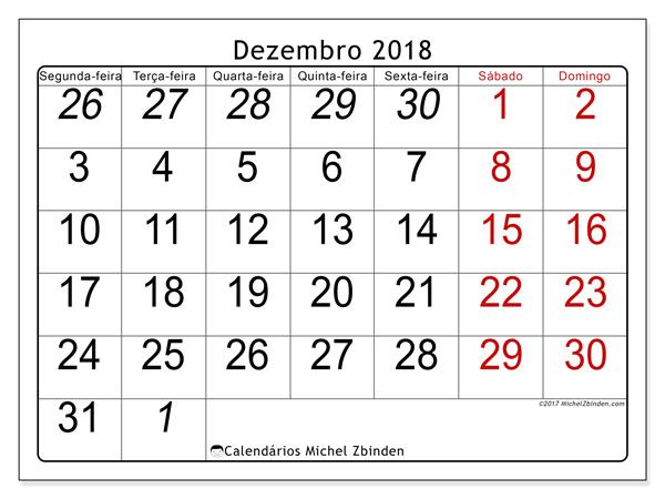 Calendário dezembro 2018, Oseus