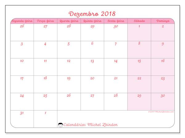 Calendário dezembro 2018, Rosea