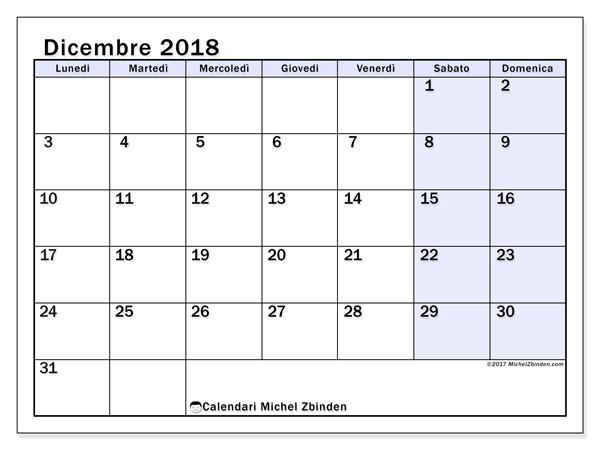 Calendario dicembre 2018, Auxilius