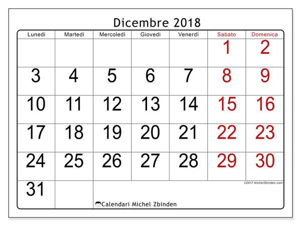 Calendario dicembre 2018, Emericus