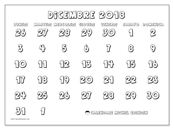 Calendario dicembre 2018, Hilarius