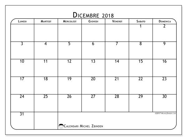 Calendario dicembre 2018, Marius